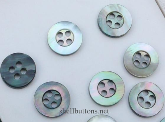 4 hole  Black MOP shell buttons