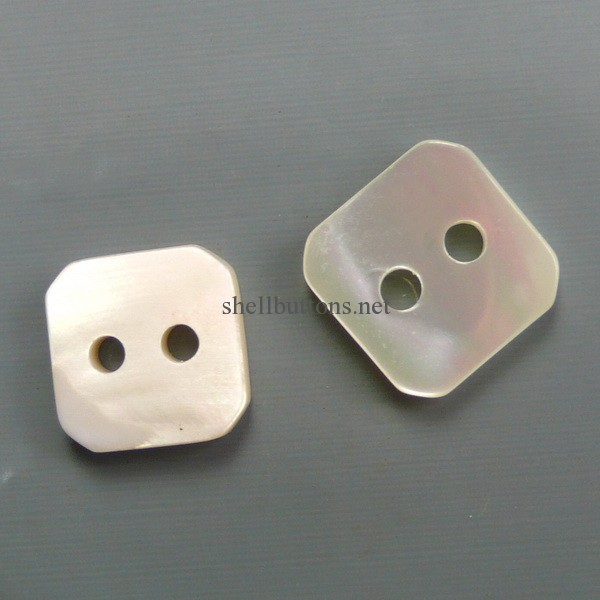 square mother of pearl buttons double white