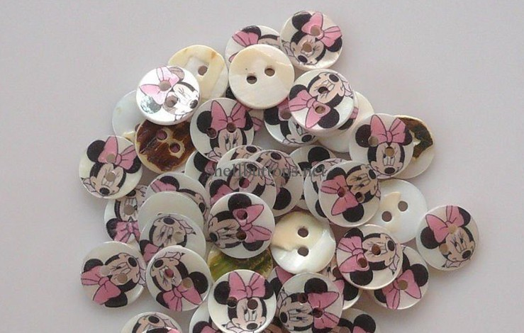 mickey mouse painted river shell buttons