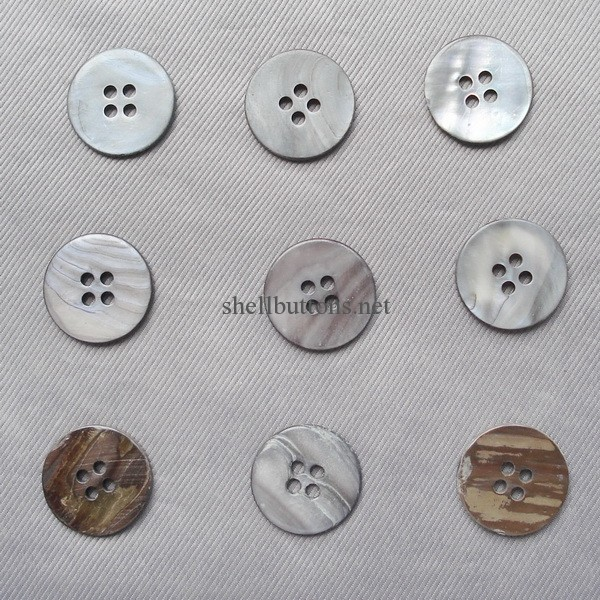 4 hole flat smoke river shell buttons