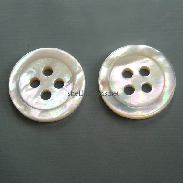 4 holes double white MOP buttons wholesale