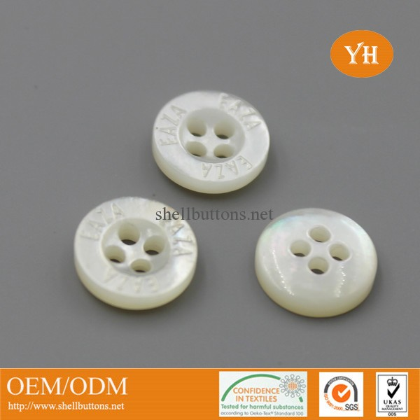 laser white mother of pearl buttons with logo