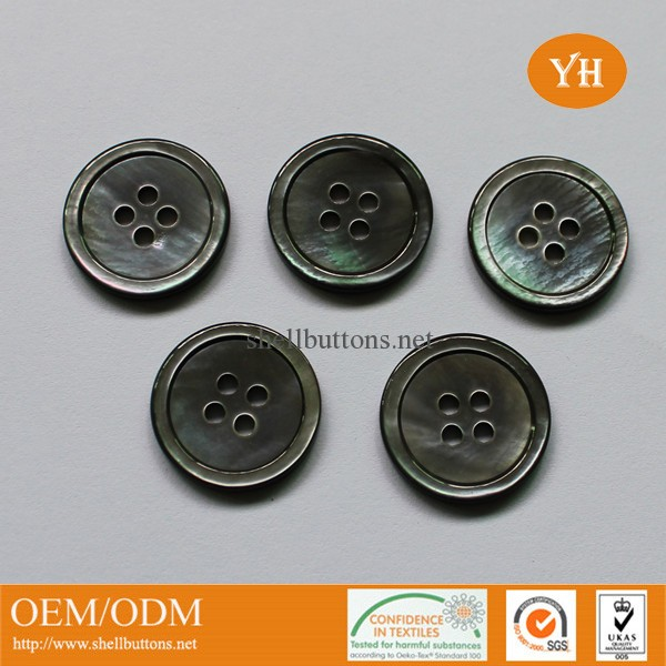 Classic 4-hole grey shell buttons with rim