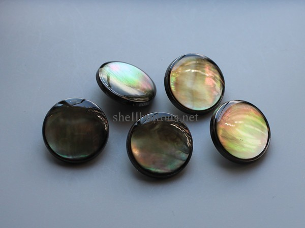 black mother of pearl MOP buttons with shank